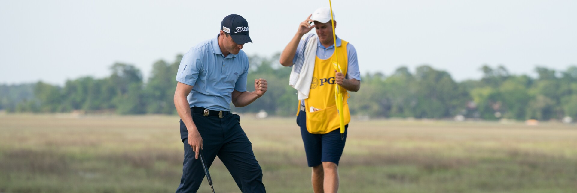 Alex Beach reacts to draining a putt during the 2019 PGA Professional Championship