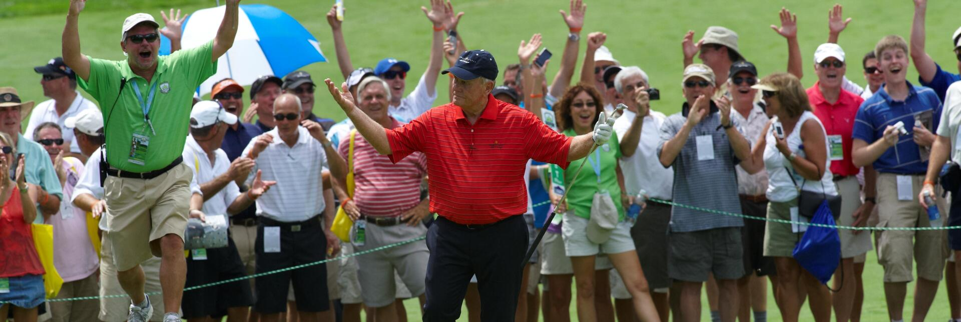 Jack Nicklaus reacts to making a 100 footer at Harbor Shores