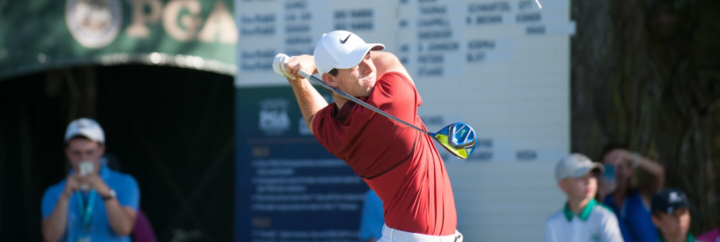 Rory McIlroy watches his tee shot during the PGA Championship Long Drive Competition