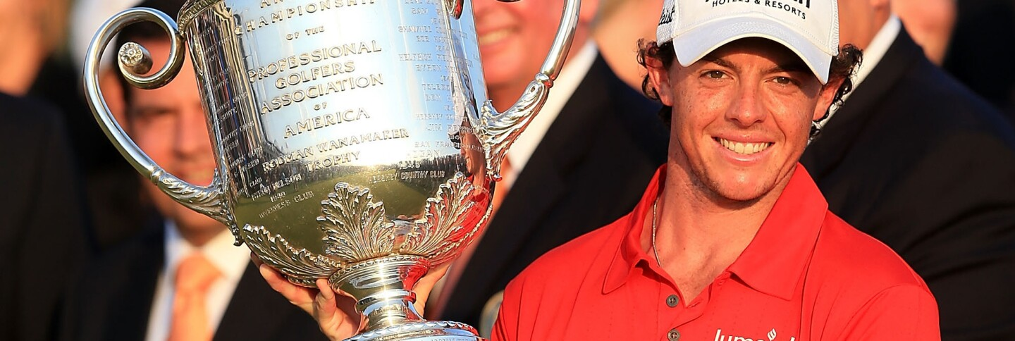 Rory McIlroy holds the trophy after winning the PGA Championship at Kiawah Island